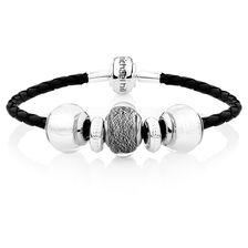 Sterling Silver & Black Leather Charm Bracelet