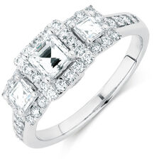 Engagement Ring with 1.33 Carat TW of Diamonds in 14kt White Gold