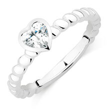 Heart Stacker Ring with Cubic Zirconia in Sterling Silver