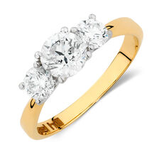 Engagement Ring with 1 1/2 Carat TW of Diamonds in 18ct Yellow & White Gold