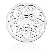 Sterling Silver Floral Patterned Coin Pendant Insert