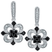 Drop Earrings with 0.40 Carat TW of White & Enhanced Black Diamonds in Sterling Silver
