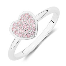 Pink Cubic Zirconia Heart Ring