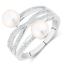 Ring with Cultured Freshwater Pearl & 0.15 Carat TW of Diamonds in Sterling Silver