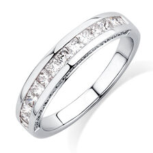 Ideal Cut Wedding Band with 3/4 TW of Diamonds in 14kt White Gold