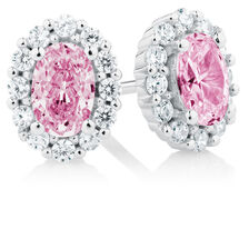 Stud Earrings with Pink & White Cubic Zirconia in Sterling Silver