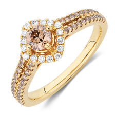 Engagement Ring with 3/4 Carat TW of White & Brown Diamonds in 14kt Yellow Gold