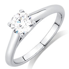 Ideal Cut Solitaire Engagement Ring with a 0.70 Carat Diamond in Platinum