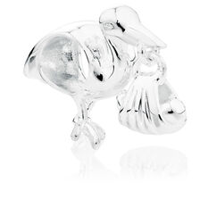 Sterling Silver Stork With Baby Charm