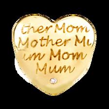 Diamond Set 10kt Yellow Gold Mom Heart Charm