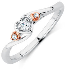 Promise Ring with 1/15 Carat TW of Diamonds in 10kt White & Rose Gold