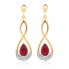 Drop Earrings with Created Ruby & Diamonds in 10kt White Gold