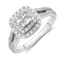 Michael Hill Designer Arpeggio Engagement Ring with 3/4 Carat TW of Diamonds in 14ct White Gold
