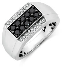 Men's Ring with 3/4 Carat TW of White & Enhanced Black Diamonds in 10kt White Gold