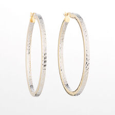Online Exclusive - Pattern Hoop Earrings in 9ct Yellow Gold