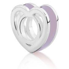 Sterling Silver & Purple Enamel Heart Charm