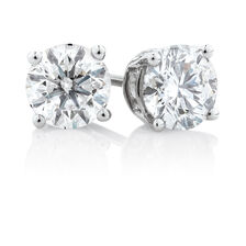 Stud Earrings with 2 1/2 Carat TW of Diamonds in 14ct White Gold