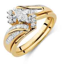 Bridal Set with 1/2 Carat TW of Diamonds in 14ct Yellow & White Gold