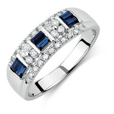 Ring with Sapphire & 0.23 Carat TW of Diamonds in 10ct White Gold