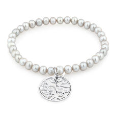 "19cm (7.5"") Elastic Bracelet with Sterling Silver Tree of Life in Grey Cultured Freshwater Pearl"