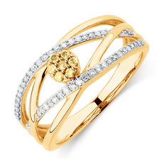 Ring with 1/4 Carat TW of Yellow & White Diamonds in 10ct YellowGold