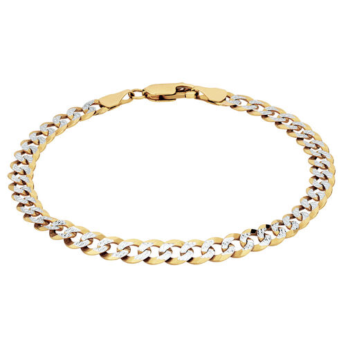 "19cm (7.5"") Curb Bracelet in 10kt Yellow & White Gold"