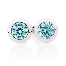 Aqua Cubic Zirconia & Sterling Silver Stud Earrings