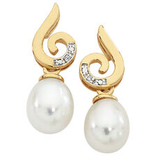 Drop Earrings with Cultured Freshwater Pearl & Diamonds in 10ct Yellow Gold