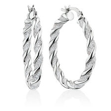 Glitter Twist Hoop Earrings in Sterling Silver