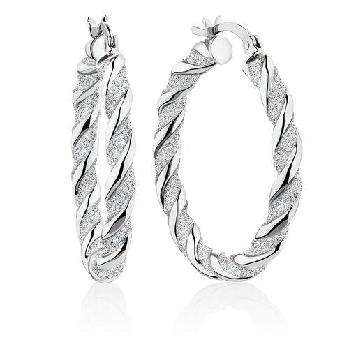 Glitter Twist Hoop Earrings in Sterling Silver