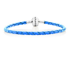 "Blue Leather 19cm (7.5"") Charm Bracelet"