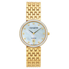 Ladies Watch with 1 Carat TW of Diamonds & Mother of Pearl in Gold Tone Stainless Steel