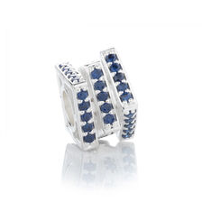 Online Exclusive - Three Tier Square Charm with Blue Cubic Zirconia in Sterling Silver