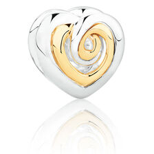 Swirl Heart Charm in Sterling Silver & 10kt Yellow Gold