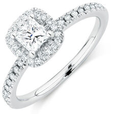 Evermore Colourless Engagement Ring with 0.70 Carat TW of Diamonds in 14kt White Gold
