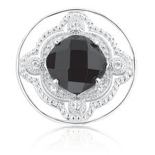 Art Deco Coin Locket Insert with Black & White Cubic Zirconia in Sterling Silver