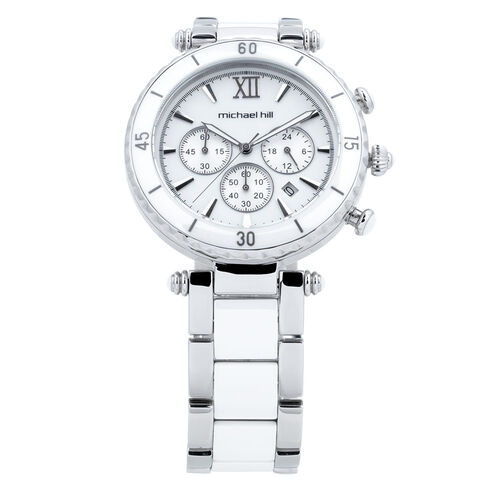 Ladies Chronograph Watch with Mother of Pearl in White Ceramic & Stainless Steel