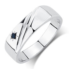 Men's Ring with a Sapphire in Sterling Silver