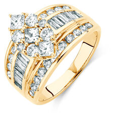 Engagement Ring with 2 Carat TW of Diamonds in 14kt Yellow Gold