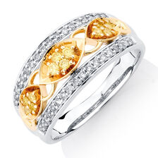 Ring with 0.38 Carat TW of Yellow & White Diamonds in 10kt Yellow & White Gold