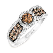 Le Vian Ring with 7/8 Carat TW of Chocolate & Vanilla Diamonds in 14kt White Gold