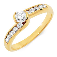 Engagement Ring with 1/2 Carat TW of Diamonds in 18ct Yellow Gold