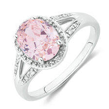 Ring with Pink & White Cubic Zirconina in Sterling Silver