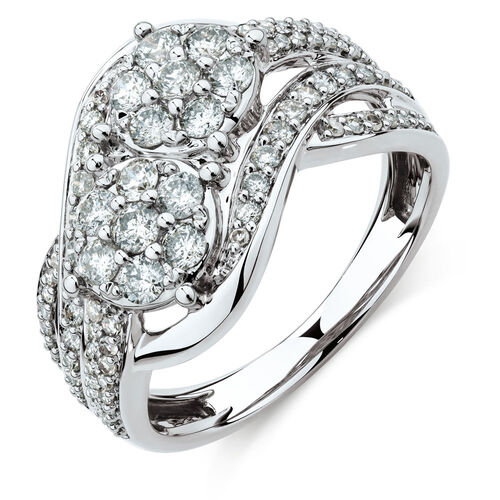 By My Side Cluster Ring with 1 Carat TW of Diamonds in 10kt White Gold