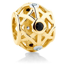 Diamond Set, Black Sapphire & 10ct Yellow Gold Charm