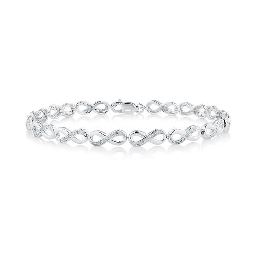 Infinity Bracelet with 1/4 Carat TW of Diamonds in 10kt White Gold