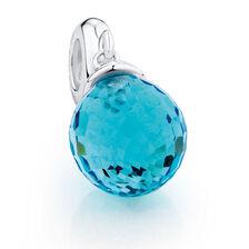 Aqua Glass & Sterling Silver Dangle Charm