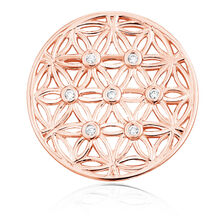 Cubic Zirconia & 10ct Rose Gold Flower Pattern Coin Pendant Insert