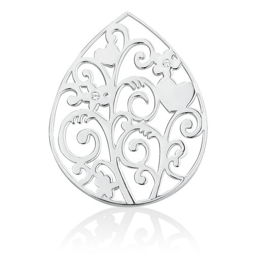 Flower Vine Coin Pendant Insert with Cubic Zirconia in Sterling Silver