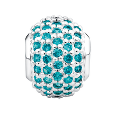 Aqua Cubic Zirconia & Sterling Silver Pave Charm